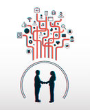 Business people shaking hands with app icons in 3d. On white background Royalty Free Stock Photo
