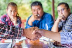 Business people shaking hands,Business Collaboration Concepts,. Finishing up a meeting Stock Images