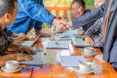 Business people shaking hands,Business Collaboration Concepts,. Finishing up a meeting Royalty Free Stock Image