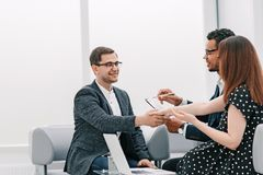 Business people shaking hands after a business meeting royalty free stock photography