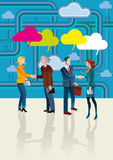 Business People Shaking Hands and Cloud Stock Photo