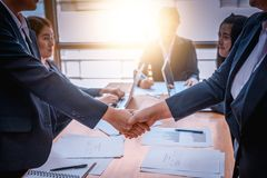 Business people shaking hands with each other. Successful businessmen on corporate meeting . Business people shaking hands with each other in the business royalty free stock photo