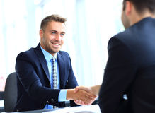 Business people shaking hands, finishing Stock Photo