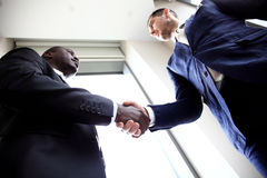 Business people shaking hands, finishing up meeting Stock Photo
