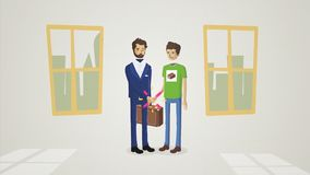 Business people shaking hands, finishing up a meeting animation. Welcoming business partners Handshake. Two successful vector illustration
