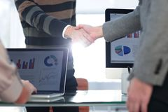 Business people shaking hands, finishing up a meeting. Business concept Royalty Free Stock Image