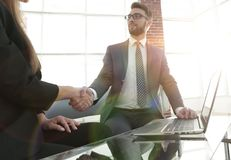 Successful businessmen handshaking after good deal. Royalty Free Stock Image