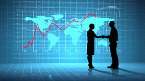 Business people shaking hands in front of global business interface. Digital animation of Business people shaking hands in front of global business interface stock video footage