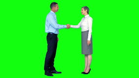 Business people shaking hands. On green screen background stock footage