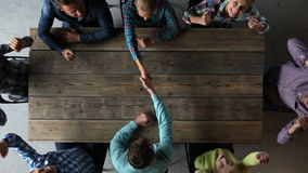 Business people shaking hands. Hipster business people coming to agreement shaking hands, teamwork on new business concept