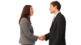 Business people shaking hands. Isolated on a white backgorund stock video footage