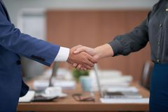 Business people shaking hands at meeting. Close-up of business partners standing and greeting each other before business meeting at office royalty free stock image