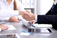 Business people shaking hands at meeting. Clouse up of handshake Stock Image