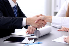 Business people shaking hands at meeting. Clouse up of handshake Royalty Free Stock Images