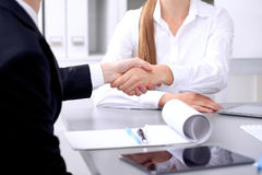 Business people shaking hands at meeting. Clouse up of handshake.  royalty free stock photo