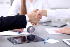 Business people shaking hands at meeting. Clouse up of handshake.  stock image