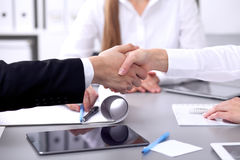 Business people shaking hands at meeting. Clouse up of handshake.  stock images