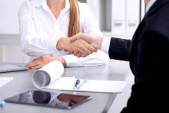 Business people shaking hands at meeting. Clouse up of handshake.  royalty free stock images