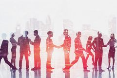 Business people shaking hands, network in city stock illustration