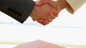 Business people shaking hands. In the office stock video footage