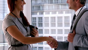Business people shaking hands in office. In slow motion stock video footage