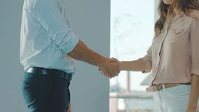 Business people shaking hands. Business partners having agreement. Man and woman partnership. People cooperation. Business trust concept stock video