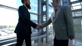 Business people shaking hands stock video