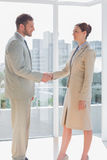 Business people shaking hands and smiling Stock Images