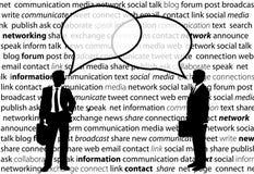 Business people share social network talk bubbles. Two business people share social media network talk in speech bubbles