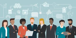 Business people sharing ideas. Business people team sharing ideas and connecting online, network of concepts: finance and technology Royalty Free Stock Photography