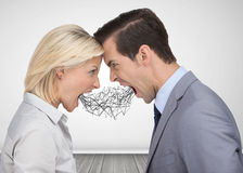 Business people shouting at each other. In an empty room Royalty Free Stock Image