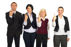 Business people showing counting fingers Royalty Free Stock Photo