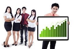 Business people showing growth graph vector illustration