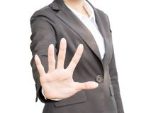 Business people showing her hand stop sign on white stock photos
