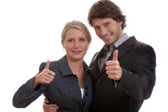 Business people showing ok sign Royalty Free Stock Image