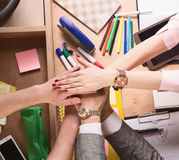 Business people showing teamwork in office Royalty Free Stock Images