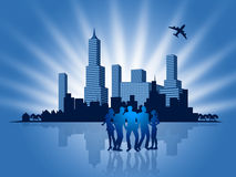 Business People Shows Metropolis Downtown And Businesspeople Royalty Free Stock Photography