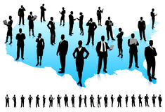 Business People Silhouette on United States map Royalty Free Stock Images