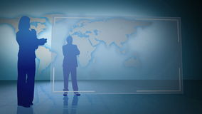 Business people silhouette with video spaces and an earth image courtesy.org Royalty Free Stock Image
