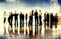 Business People Silhouette Working Cityscape Teamwork Talking Di. Scussion Stock Photo