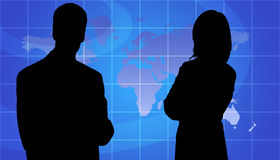 Business People Silhouette, World Map Background Royalty Free Stock Photography
