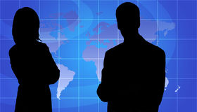 Business People Silhouette, World Map Background Stock Images