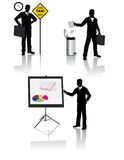 Business people silhouettes. Business people in different situation Stock Images