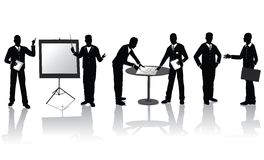 Business people silhouettes. High quality business people silhouettes in different situations Royalty Free Stock Photo