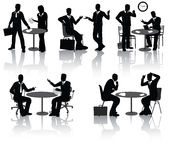 Business people silhouettes. High quality business people silhouettes in different situations Royalty Free Stock Images
