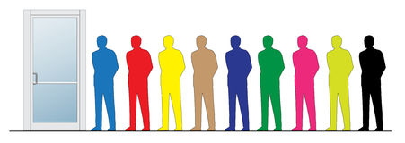 Business people silhouettes. This is a clipart of Business people silhouettes next to closed door. Vector illustration, colors can be modified Royalty Free Stock Photos
