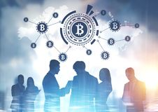 Businesspeople, international bitcoin network Royalty Free Stock Image