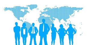 Business people silhouettes against white wall with world map Royalty Free Stock Image
