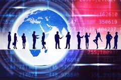 Business people silhouettes in center. Silhouettes of business people in different postures on abstract colorful background with earth. Elements of this image Royalty Free Stock Image