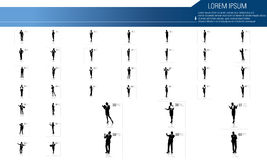 Business people silhouettes with different pose. Illustration of business people silhouettes Royalty Free Stock Photos
